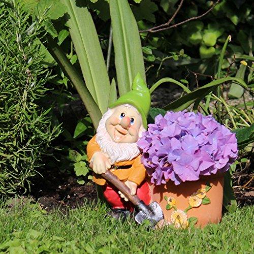 Gartenzwerg mit Pflanztopf 21cm Gartendeko Statue Zwerg Figur - 2