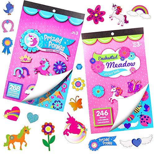 German Trendseller® - Sticker de Licornes 6 x Livres dautocollants┃Plus de 700 Sticker┃lanniversaire denfant┃Petit Cadeau┃ larc en Ciel