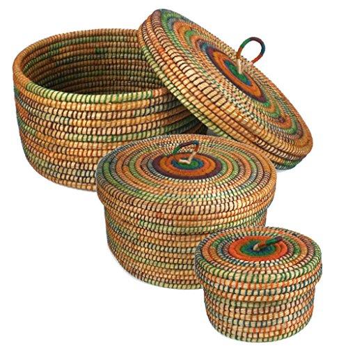 Krimskramskorb Ø 20 30 40cm | Aufbewahrungskorb mit Deckel | Handarbeit | Fair Trade (Set - alle DREI Größen)