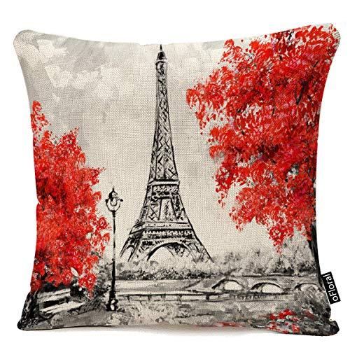 Dekorative Dekokissen Covers Paris Theme Dekokissen Covers Stadtlandschaft Frankreich Eiffelturm Travel Park Bäume Bank Dekokissen Cases Couch Covers Dekoration, 45X45 cm