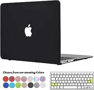 TECOOL Custodia MacBook Air 13 Pollici, Ultra Sottile Plastica Case Cover Rigida Copertina con Copertura della Tastiera in Silicone per 2010-2017 MacBook Air 13.3 (Modello: A1466 / A1369) - Nero