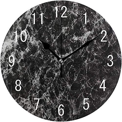 Cl353ll Wanduhr aus schwarzem Marmor, rund, Holz, für Wohnzimmer, Küche, Schlafzimmer, Büro, Schule,