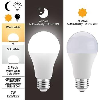 Bombillas LED sensor crepuscular,JUSIAL 7W larga vida bombillas LED con encendido / apagado automáticamente