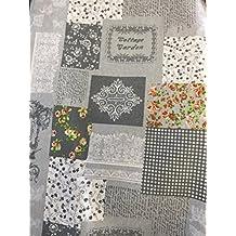 Toalla Muebles Sofá Colcha Manta Color Shabby gris con palabras 270x 280cm de algodón Granfoulard 100% Made in Italy producción propria EURONOVITA '