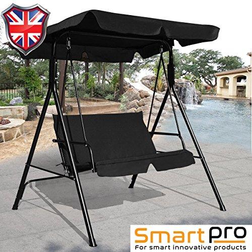 SMARTPRO Chaise hamac, Sweet Home 2 Places Chaise hamac de Jardin en métal - Noir
