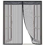 Lictin Fliegengitter Fenster Magnet Fenster Insektenschutz 130x150cm Magnet Fenstervorhang für Balkontür Wohnzimmer