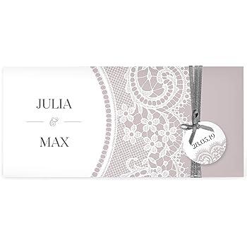 Einladungskarten zur Hochzeit im elegantem Spitze Look mit edlem Anhänger | Inkl. Druck Ihrer Texte | Farbe Taupe | 20 Stück | Individuelle Hochzeitseinladungen | Hochzeitskarten | Einladung