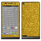 atFolix Skin kompatibel mit Huawei Ascend P6, Designfolie Sticker (FX-Glitter-Gold-Rush),Reflektierende Glitzerfolie
