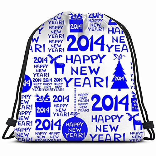 khgkhgfkgfk 2014 Happy New Year Black Holidays Drawstring Backpack Gym Sack Lightweight Bag Water Resistant Gym Backpack for Women&Men for Sports,Travelling,Hiking,Camping,Shopping Yoga
