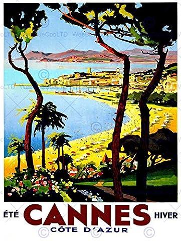 TRAVEL TOURISM CANNES COTE D'AZUR BEACH FILM FESTIVAL FRANCEAD POSTER