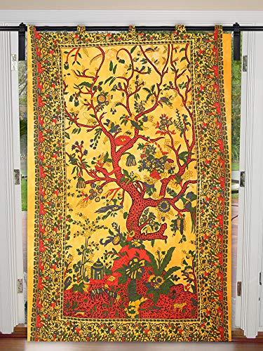 Janki Creation Baum des Lebens Wand Wand Hippie Single Vorhang Mandala Fenster Tür Vorhang Drape Portiere Mandala Decor Mandala Tapisserie Twin Size 125 cm x 208 cm Vorhang Fenstervorhang -