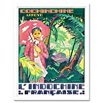 Wee Blue Coo Travel Vietnam Cochine Indochina Umbrella Jungle France Art Print Framed Poster Wall Decor 12X16 Inch