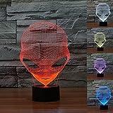 Lámpara 3d Illusion luces de la noche, KINGCOO ajustable 7colores LED extraterrestre acrílico luz 3d Creative Interruptor táctil estéreo visual atmósfera mesa, regalo para Navidad