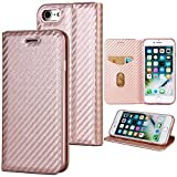 PU es suave iphone 6 cover ,iPhone 6s Funda Libro Suave Leather con Tapa, Cierre Magnético - Carcasa PU Leather Con TPU Silicona Case Interna Suave Case para iPhone 6 6s Oro rosa