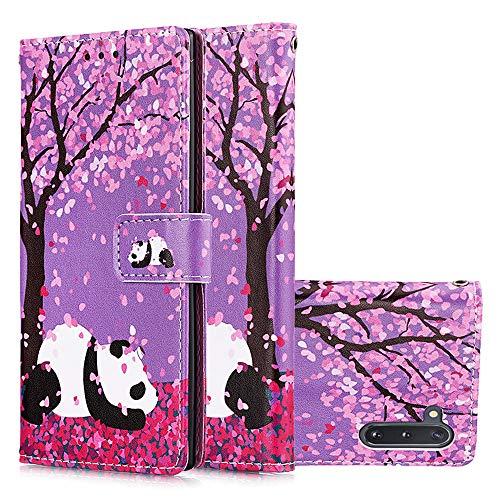 Miagon für Samsung Galaxy Note 10 Leder Hülle,Klapphülle mit Kartenfach Brieftasche Lederhülle Stossfest Handy Hülle Klappbar,Kirschblüten Panda