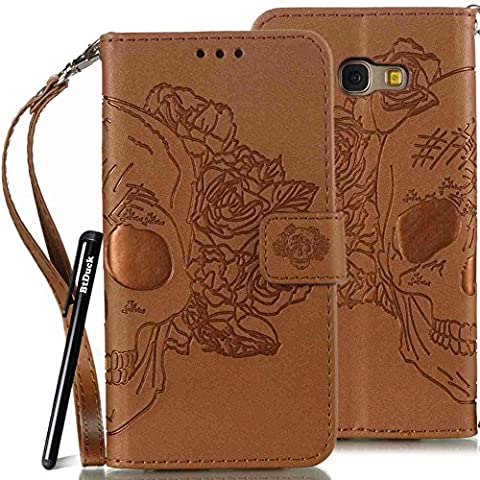 BtDuck Leather Case for Samsung Galaxy A5 2017 inch Brown Rose Hair Skull Head Devil Demon Punk PU Stand Embossed Phone Protector PU Leather Flip Folio Cover Anti-slip Skin Outdoor Protection Simple Strict Shockproof Heavy Duty Robust Bumper Case Shell with Stander Oyster Card ( Travel Card Bus Pass)Holder Slots Pocket Kickstand Function Magnetic Closure + 1 * Black Stylus Pen