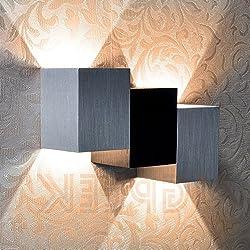 Moderno 6W blanco cálido Led lámpara de Pared, Cuerpo Cúbico de Aluminio Hasta Abajo Lámpara de Pared, Lámpara de Pared Para la Decoración del Dormitorio, Perfecto Para Lámparas de Salón Pasarela (Negro y Blanco)