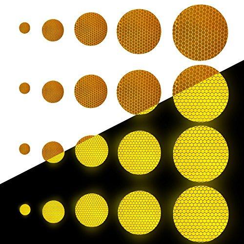 Tuqiang Runde Form Reflektierendes Klebeband Wasserdicht Selbstklebend Für Rollstuhl Gehstock Schuhe Hohe Sichtbarkeit Band Sicherheit im Freien Reflektierend Aufkleber 25 Stück Gelb