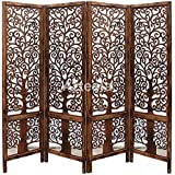 Artesia Handcrafted 4 Panel Premium Quality Wooden Room Partition/Wooden Room Divider/Wooden Screen/Wooden Room Seperator