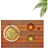 Bamboo Table Mats/Place Mats/Dinning Mats/Kitchen Place Mats/Dinner Mats, 30x40cm, 6 Piece Set(BM1X6456 B1 - Orange)