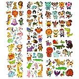 Phogary Zoo Tatouages Animaux 200 Pièces 20 Feuilles Thème Animal Tatouages Temporaires Corps Art Tatouages Imperméables pour Enfants