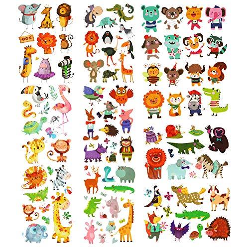 Phogary zoo tatuaggi animali 200 pezzi 20 fogli temi animali tatuaggi temporanei tatuaggi impermeabili per body art per bambini
