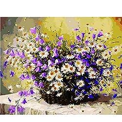 Waofe Cuadro Margarita Flores Pintura Diy Por Números Decoración Del Hogar Pintado A Mano Aceite Pintado Inicio Arte De Pared Imagen 40X50Cm