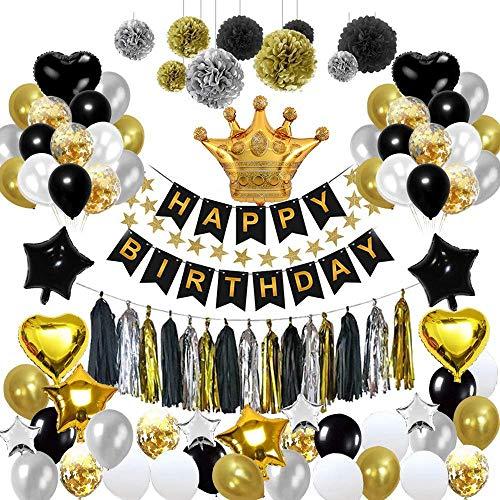 Vuffuw Geburtstagsparty-Dekoration, Schwarze Gold-Serie, Partyballon-Set inkl. Happy Birthday Banner Stern Herz Folienballons für 18,20,30,40,50,60,70,80,90. Geburtstag, 93 PCS (Und Weiß Party Dekorationen 40th Schwarz Birthday)
