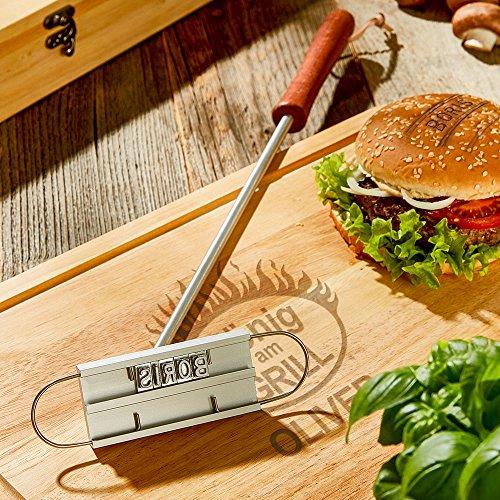 613waX3PUlL - Kitchen Rockstars Grillset – BBQ Brandeisen mit wechselbaren Buchstaben – Schneidebrett – König am Grill – Personalisiert mit [Namen] – Branding – Grillzubehör – Männergeschenke – Vatertagsgeschenke