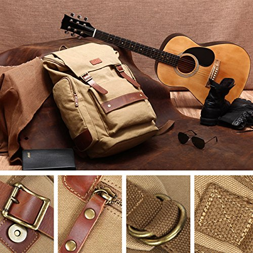 THEE Casual Vintage Rucksack Duffel Gepäck Tasche für Reise Wandern Camping Khaki