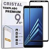 REY Protector de Pantalla Curvo para Samsung Galaxy A8 2018 - A5 2018, Negro, Cristal Vidrio Templado Premium, 3D / 4D / 5D
