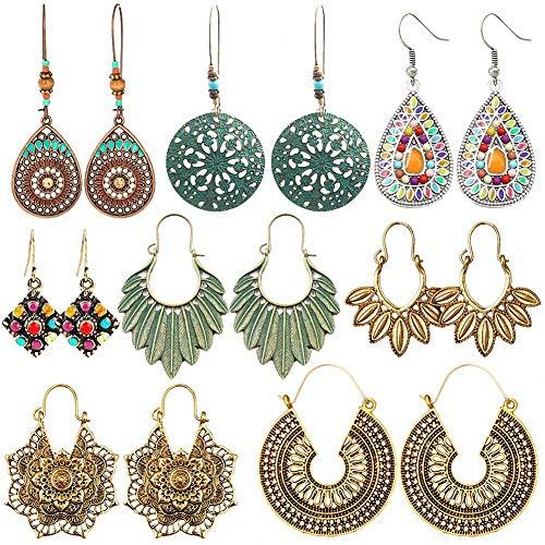 Thxxe, 8 paia di orecchini pendenti in stile bohémien, stile vintage, con strass, per donne e ragazze