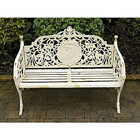 'Lady Fiora' Renaissance Inspired Garden Bench Finished In Antique French Cream