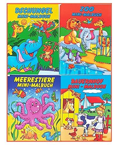 Libetui Set 10 Malbücher Mini Malbuch Größe b6 17,6 x 12,5 cm Mitgebsel Kinderparty Hochzeit Geschenk Kindergeburtstag - Vier Motive