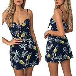 Vestido de impresión de moda de las mujeres de la piña Sexy Low-cut Braces Falda de regalo Sexy Beach Party Outfits