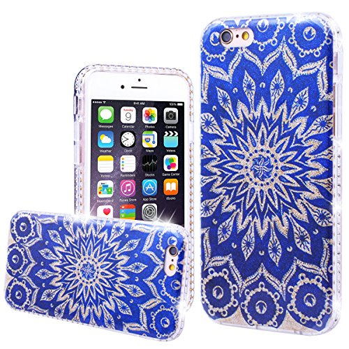 WE LOVE CASE Coque iPhone 6 Plus, Coque de Protection en Hard PC Dur Coque iPhone 6S Plus Paillette Fleur Brillo Brillant Motif Anti Choc Bumper, Antichoc Rigide Resistante Coque Apple iPhone 6 Plus i Bleu