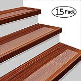 YISUN 15er Pack Rutschfeste Stufenmatten 61x 10,2cm Rutschfeste Clear Klebeband Selbstklebend Stufenmatte Indoor Outdoor verhindert Verrutschen PEVA