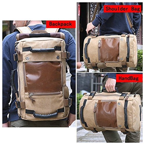 Best canvas backpack in India 2020 MOCA 4in1 Canvas casual Backpack Vintage Military Messenger Hiking Camping outdoor Trip Tour Travel Duffel Shoulder Casual Bag BackPack Rucksack 0208 (Inexperienced) Image 8