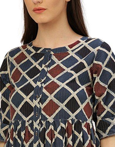 Desi-Fusion-Womens-Indigo-Geometrical-Print-Cotton-Kantha-Dress