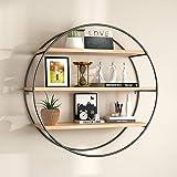 Artesia Living Room Home Decor Wall Mounted Iron and Wooden Shelf-SCFC51-Number of Shelves-3