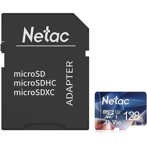 Netac 128G Scheda Micro SD con Adattatore SD, Scheda di Memoria A1, U3, C10, V30, 4K, 667X, UHS-I velocità Fino a 100/30 MB/Sec(R/W) Micro SD Card per Telefono, Videocamera, Switch, Gopro, Tablet