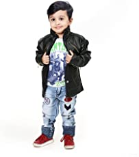 Comfort Zonee Latest Fashion Black Faux Leather Jacket for Kids Boys