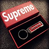 Keychain suprême Keyring Sup pendentif accessoires sac à dos bijoux porte-clés porte-clés suprême porte-clés (RED)