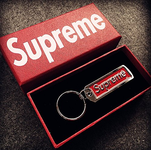 Supreme Keyring Keychain Sup Pendant Accessories Backpack Jewelry Key Chain Key Ring (RED)