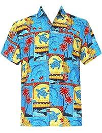 La Leela hawaïen bouton dauphins de la plage des hommes bas courte aloha chemise poche de cerf manches xs bleu - 5xl