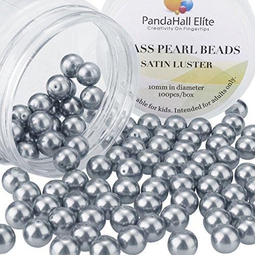 PandaHall Elite- 1 Boite/Environ 100pcs 10mm Lustre Satine Perle en verre Rond Beads Perles Assortiment Lot ,Pr creation de bijoux, Gris Ardoise