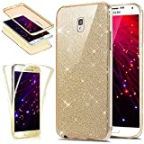 Coque Galaxy Note 3,Etui Galaxy Note 3,Galaxy Note 3 Ultra Fine TPU Silicone Coque Paillette Strass Brillante Bling Bling Glitter,KunyFond 360 Degres Protection INTEGRAL Avant + Arriere Anti Choc Coque de Protection avec Absorption de Choc et Anti-Scratch Full-Cover Gel Housse Étui Transparent Crystal Clear Souple et Flexible Ultra Mince TPU Silicone Hybride Coque Etui Protection Bumper Protecteur Cas Back Case Cover Swag Shell Skin Couverture pour Samsung Galaxy Note 3,Or