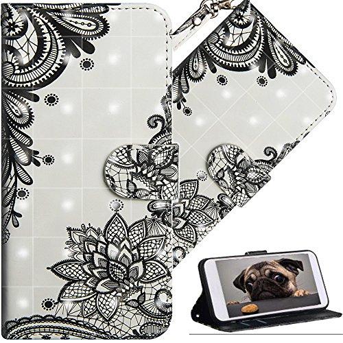 COTDINFOR Huawei Y6 2018 Hülle für Geschenk Lederhülle 3D-Effekt Painted Kartenfächer Schutzhülle Protective Handy Tasche Schale Standfunktion Etui für Huawei Y6 2018 Diagonal Black Flowers YX.