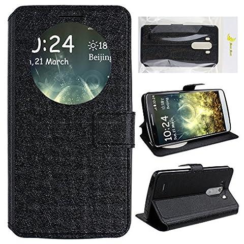 LG G3 D855 Quick Circle Schutzhülle Case, Moon mood® Ansicht Fenster Flip Schutzhülle für LG G3 Quick Circle to Show Time [View Window] PU Leather Flip Wallet Stand Flower Phone Case Cover für LG G3 D855 (5.5 inch)