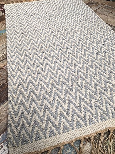 Gris Pálido Alfombra de lana grueso Herringbone suave algodón 70cm x 115cm